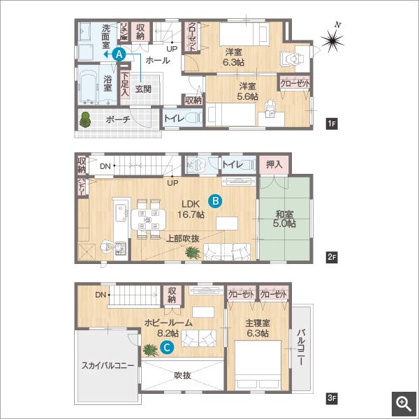 広々ホビールームのある3階建ての家
